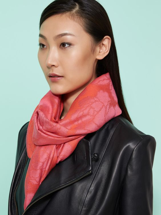 W Peony Pop Silk Cashmere Jacquard Shawl from Shanghai Tang