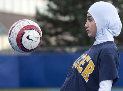 Seyed Javad wears a Resport Hijab, designed by her and to be marketed for female muslim athletes in Montreal on Wednesday, November 11, 2009. The head covering will be available in long sleeve and short sleeve depending on the athletes wish's. THE TORONTO STAR/Peter McCabe
